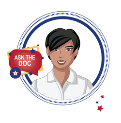 "Illustration of a female face with the words ""Ask the Doc"""