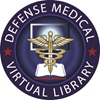 Logo for the Defense Medical Virtual Library; shows a computer monitor, cadeusus and library book.