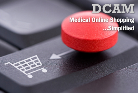 The Defense Medical Logistics Standard Support Customer Assistance Module (DCAM) - Photograph of a red pill sliding across a black keyboard button. The pill is sliding toward a shopping cart image on the keyloard button.