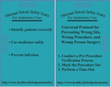 Image of a badge card showing a list of all the 2014 National Patient Safety Goals for Ambulatory Centers