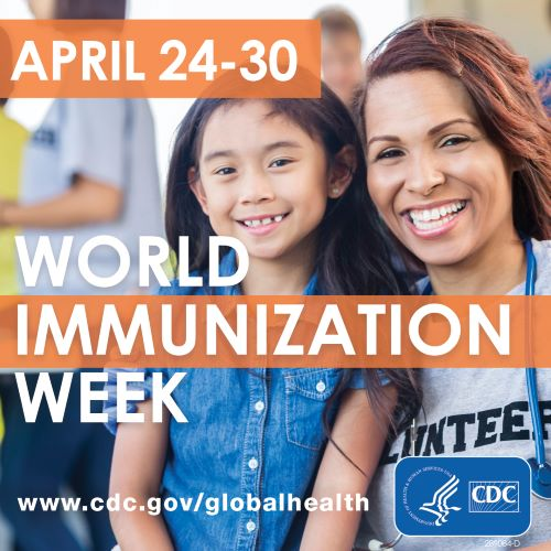 Social media graphic for Worlds Immunization Week with a mom and daughter