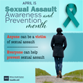 Sexual Assault Awareness and Prevention Social Media Graphic featuring a dark teal ribbon and an image of a woman walking away from the camera