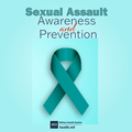 Sexual Assault Awareness and Prevention Month social media graphic with a teal background and a dark teal ribbon symbolizing sexual violence prevention