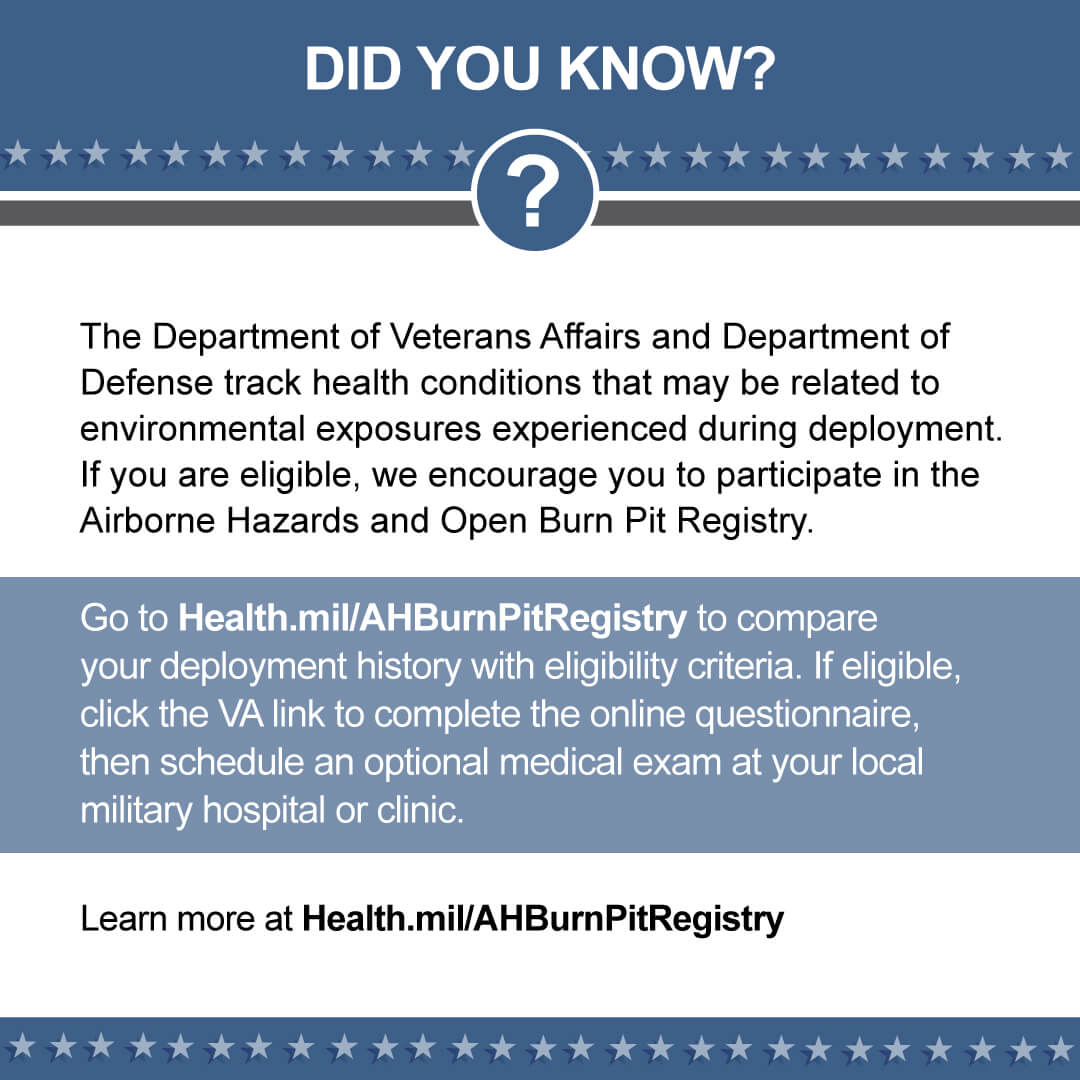 Use this graphic to promote the Airborne Hazards and Open Burn Pit Registry on social media