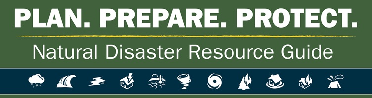 "Homepage banner with text ""PLAN.PREPARE.PROTECT. Natural Disaster Resource Guide"""