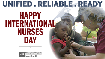 Social media graphic for International Nurses Day, showing a nurse caring for a parent and child.