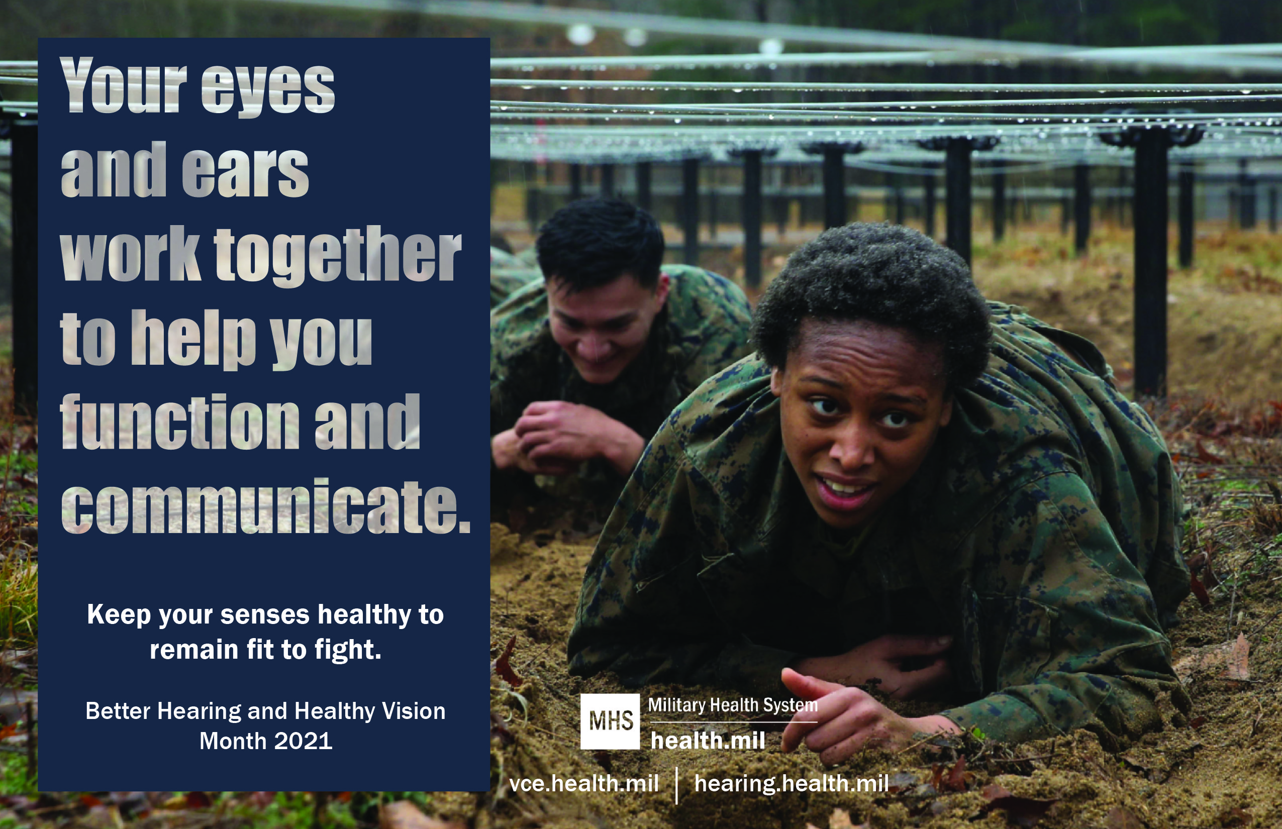 Social media graphic promoting Better Hearing and Healthy Vision Month showing service members in training.