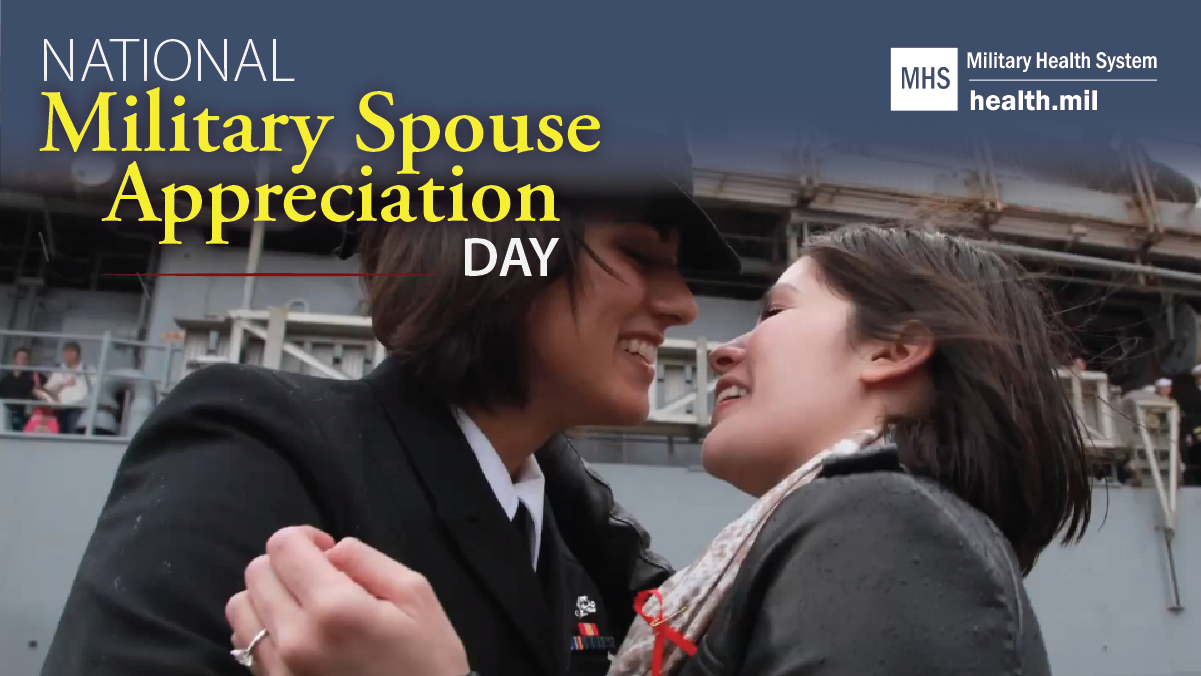 Social media graphic for National Military Spouse Appreciation Day showing a service member with their spouse.