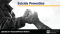 "Social media graphic for suicide prevention showing two people clasping hands, with text saying ""Suicide Prevention"""