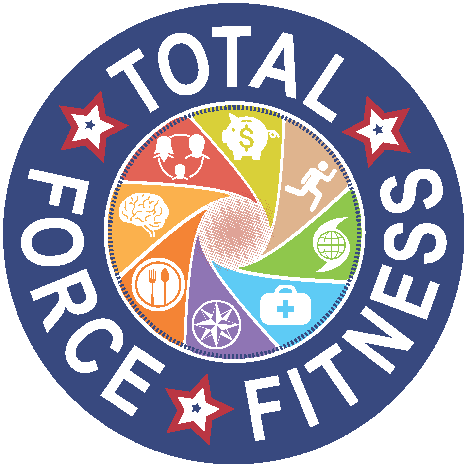 Total Force Fitness logo showing the eight domains swirling in a circle