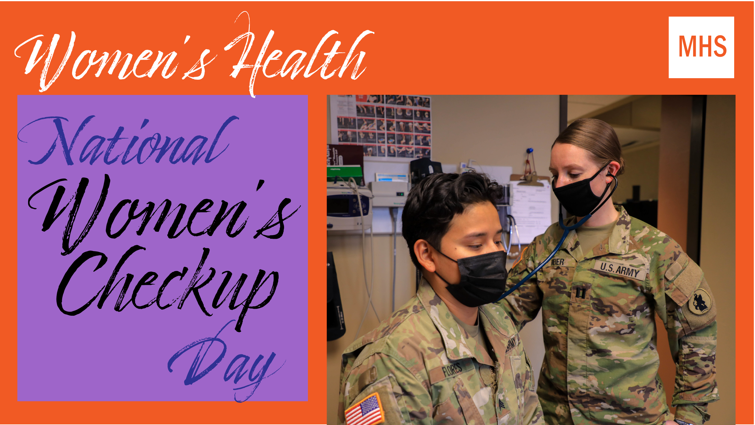 Social media graphic for Women's Check Up Day showing a female service member getting a checkup.