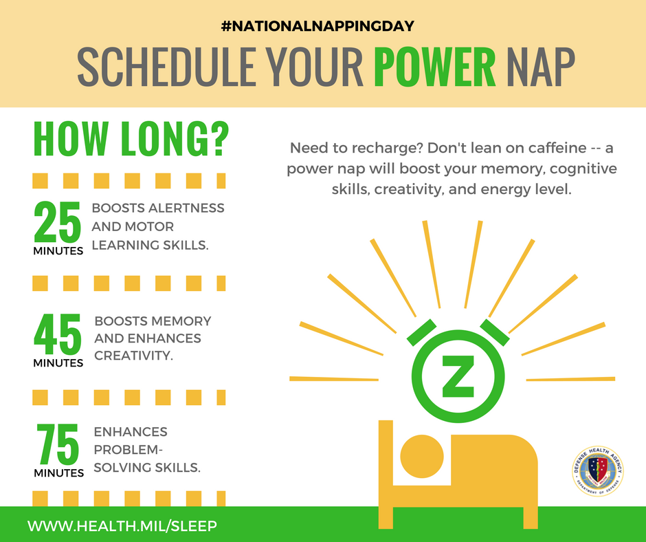 Need to recharge? Don't lean on caffeine -- a power nap will boost your memory, cognitive skills, creativity and energy level.