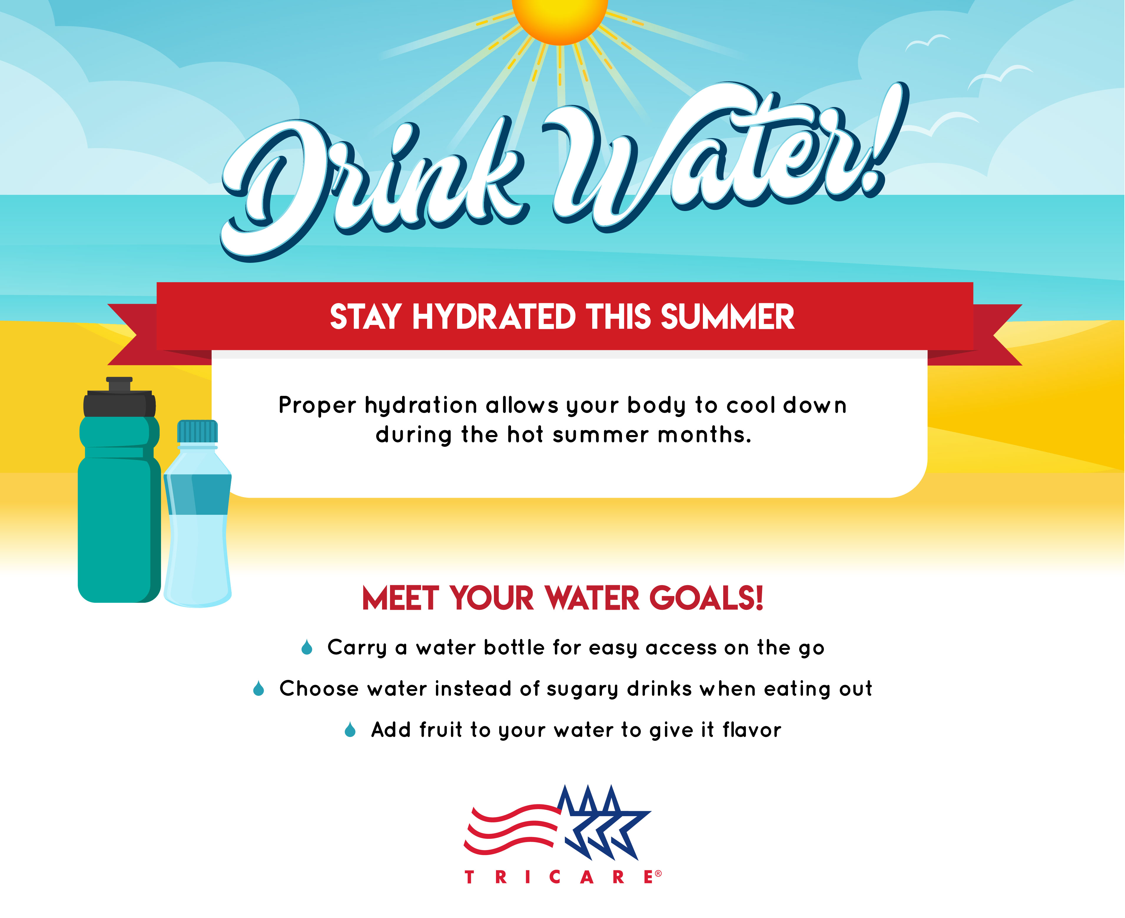 28a8ba2244 This infographic provides information on ways to stay hydrated while out in  the sun.
