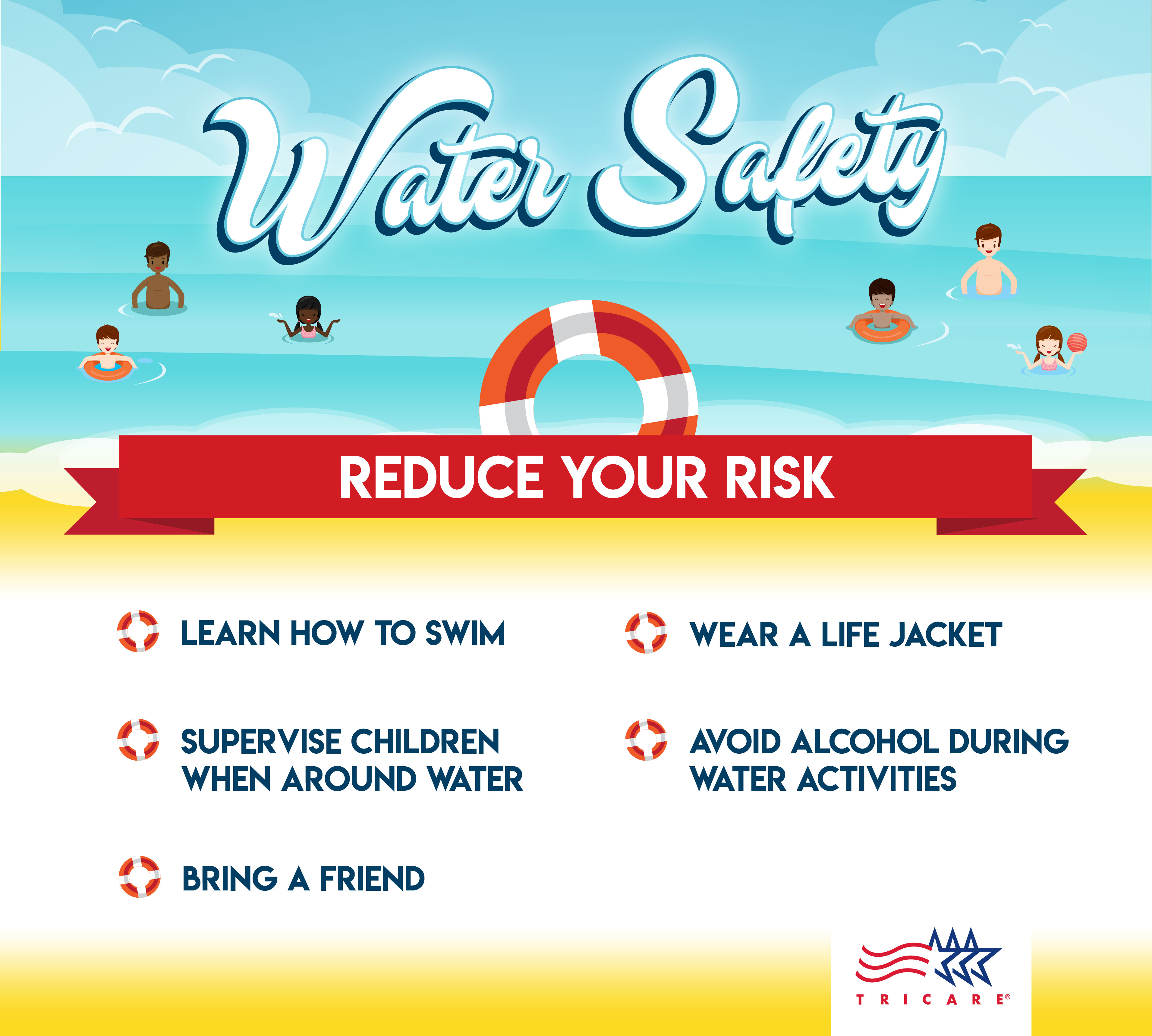 This infographic provides information on ways to protect yourself while you're in or near water.