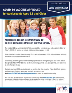 A graphic saying that the Pfizer-BioNTech vaccine approved for those ages 12 and older. Includes a photo of adolescents at the top of the page, has the TRICARE logo at the bottom right. Links in the content include www.TRICARE.mil/VaccineAppointments and www.Vaccines.gov.