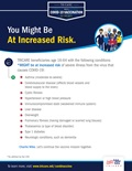 "A graphic listing conditions that might put beneficiaries 16-64 in the ""at-risk"" category. This includes asthma cystic fibrosis, hypertension, and more. Graphics include a group of people wearing masks and the TRICARE logo."