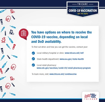 Graphics include images of syringes, hand soap, and facemask are on the left-hand side of the graphic as well as the TRICARE logo on the bottom right. Text includes links on vaccination information in MTFs, state health departments, and retail pharmacies.