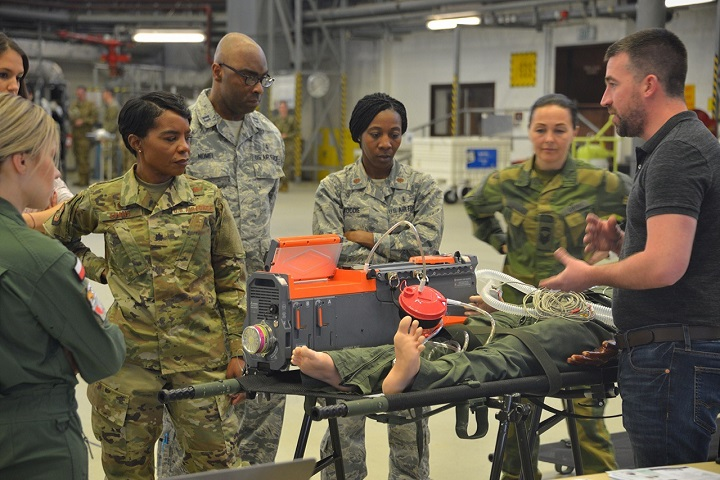 Medical professionals from around Europe and Africa receive small-group training at Ramstein Air Base, Germany. The 2019 European African Military Nursing Exchange is the 6th iteration of its kind, with extensive planning and coordination to connect partner nations in a collaborative environment that promotes hands-on training scenarios. (U.S. Air Force photo by Tech. Sgt. Jessica Hines)