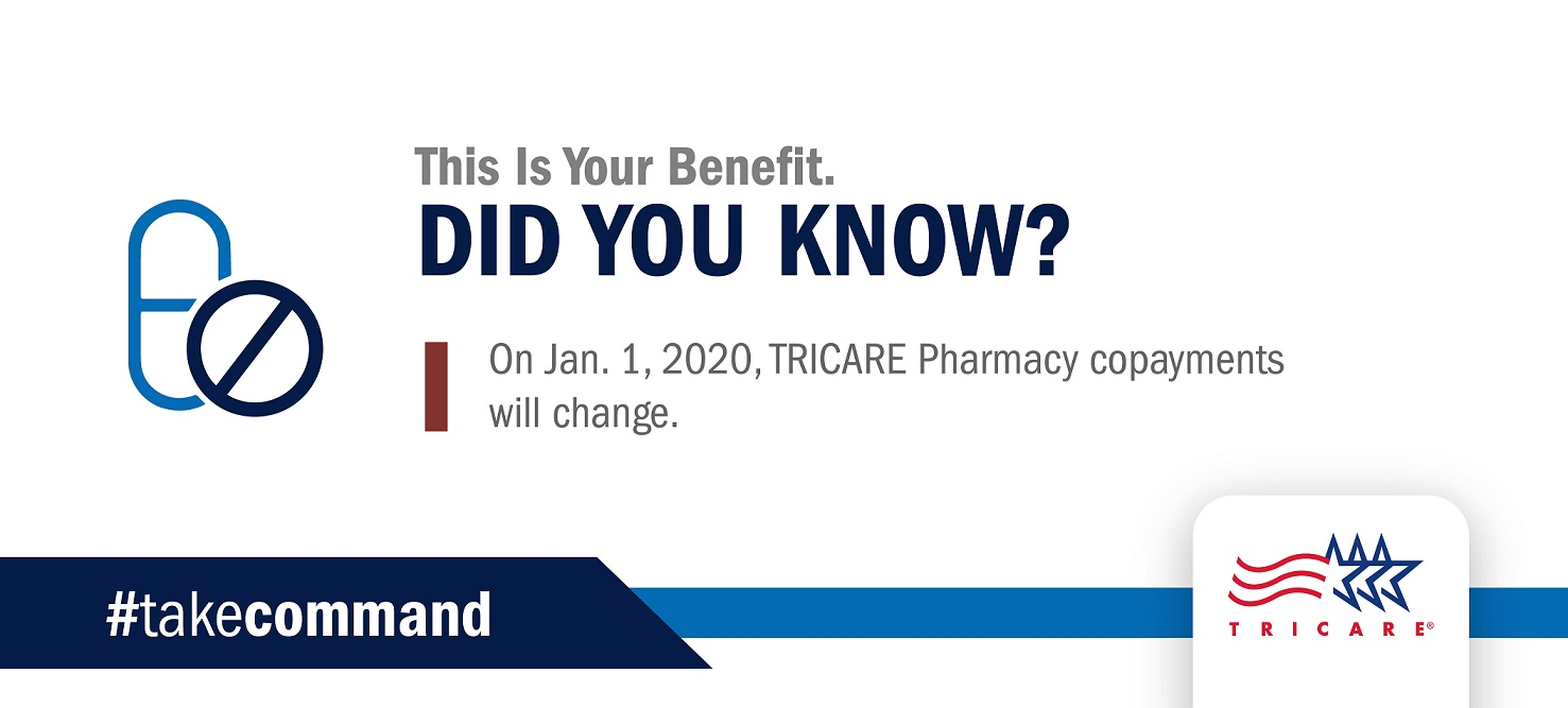 Image of text reading Did you know? On Jan. 1, 2020, TRICARE Pharmacy copayments will change.