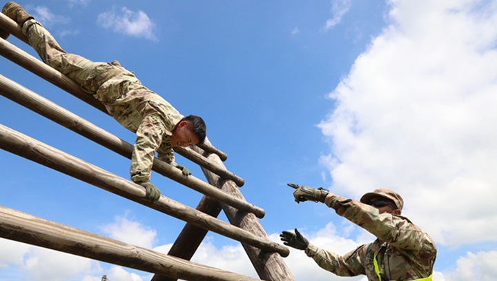 Soldiers on an obstacle course
