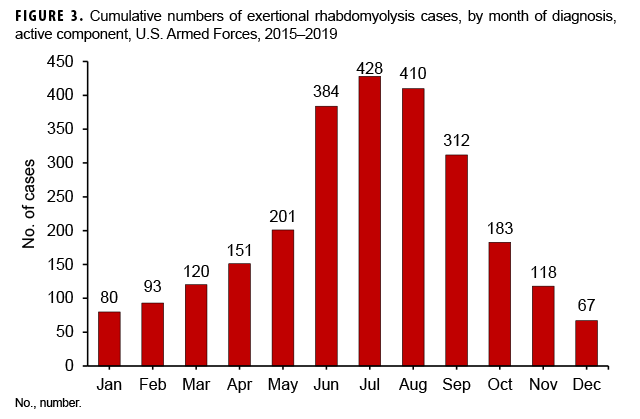 Cumulative numbers of exertional rhabdomyolysis cases, by month of diagnosis, active component, U.S. Armed Forces, 2015–2019