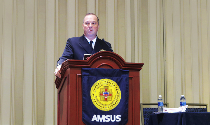 Deputy Surgeon General Navy Rear Adm. Terry Moulton addresses MHS clinicians at the 2016 AMSUS Conference.
