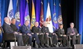 From left, Retired Army Maj. Gen. Richard Thomas, president of Uniformed Services University of the Health Sciences;  Navy Rear Adm. Colin Chinn, Joint Staff surgeon; Air Force Lt. Gen. Mark Ediger, Air Force surgeon general; Navy Vice Adm. Forrest Faison III, Navy surgeon general; Army Maj. Gen. Ronald Place, for the Army surgeon general; Navy Vice Adm. Raquel Bono, director of the Defense Health Agency; and Tom McCaffery, acting assistant secretary of defense for health affairs. (Courtesy photo)