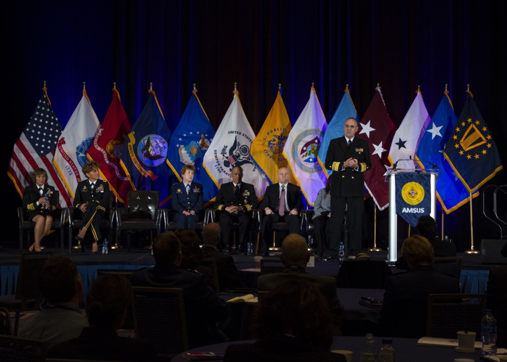 Vice Adm. Forrest Faison, Navy surgeon general and chief, U.S. Navy Bureau of Medicine and Surgery, spoke about the future of Navy Medicine with military and civilian medical professionals Nov. 29 during the 127th Annual AMSUS Meeting for Federal Health Professionals at the Gaylord National Resort and Convention Center, Maryland.