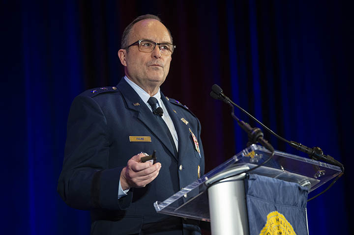 Maj. Gen. Lee Payne, assistant director for combat support at the Defense Health Agency (DHA), speaks at the AMSUS 2018 DHA general session.