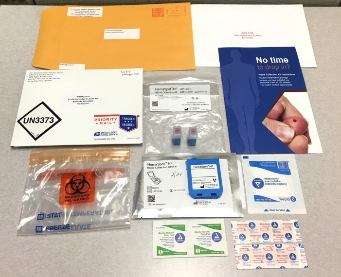 The Air Force offers self-collection kits that include instructions, supplies to obtain a finger-prick blood sample, and a prepaid envelope to mail the sample to a lab for HIV testing.