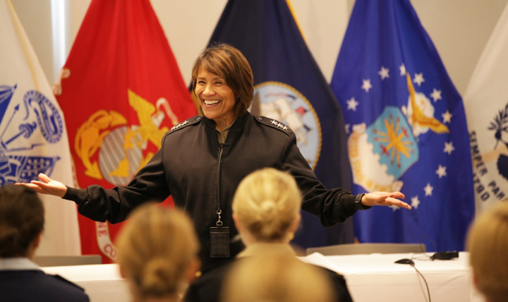 Navy Vice Adm. Raquel Bono, director of the Defense Health Agency, has been recognized by Modern Healthcare magazine as one of the 50 most influential physician executives and leaders for this year. (MHS file photo)