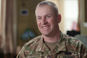 Army Sgt. 1st Class Bradley Lee got help for traumatic brain injury and continues to serve. (DVBIC photo by Trent Watts)