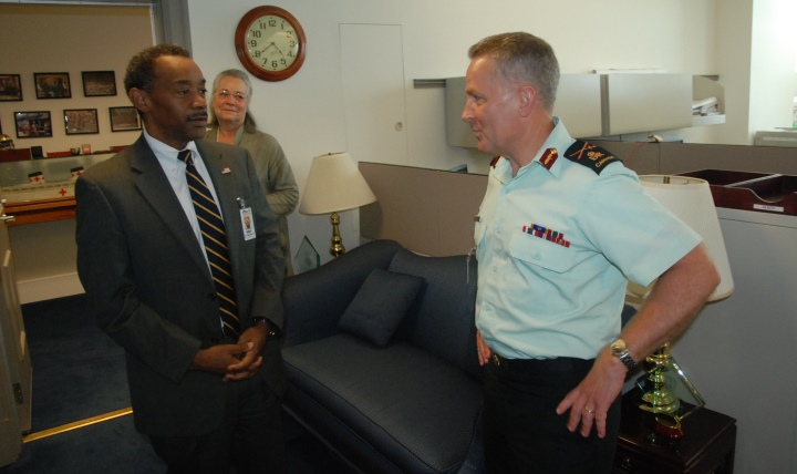 Brig. Gen. Hugh Colin MacKay, OMM, CD, QHP (right), surgeon general and commander of Canadian Forces Health Services, meets with Assistant Secretary of Defense for Health Affairs Dr. Jonathan Woodson (left) and Dr. Karen Guice, Principal Deputy Assistant Secretary of Defense for Health Affairs at the Pentagon on July 30, 2015.
