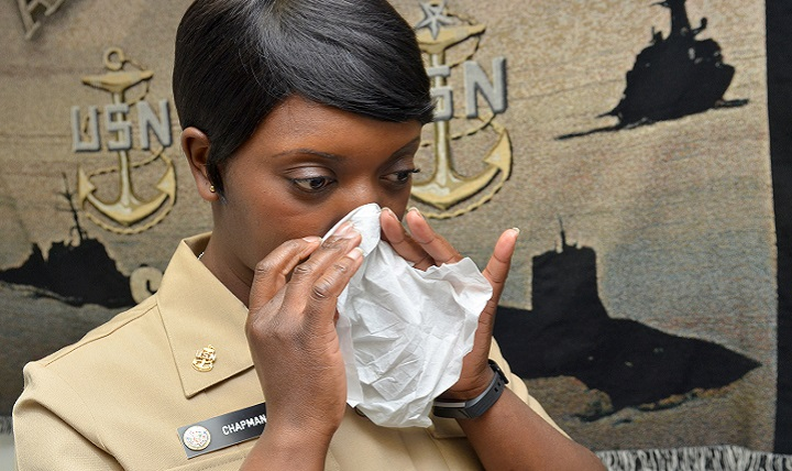 Many people are sick with colds and flu this season. The flu is peaking earlier this year than usual, with widespread cases reported in every state across the continental U.S., according to the Centers for Disease Control and Prevention.(U.S. Navy photo by Petty Officer 1st Class Jacob Sippel)