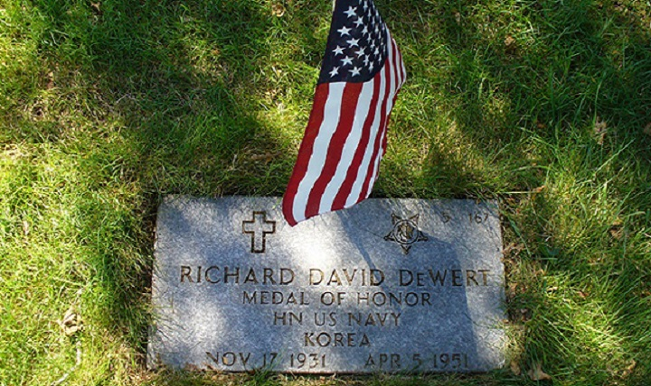 Richard Dewert's gravestone at Massachusetts National Cemetery. (Courtesy photo by Gary Boughton)