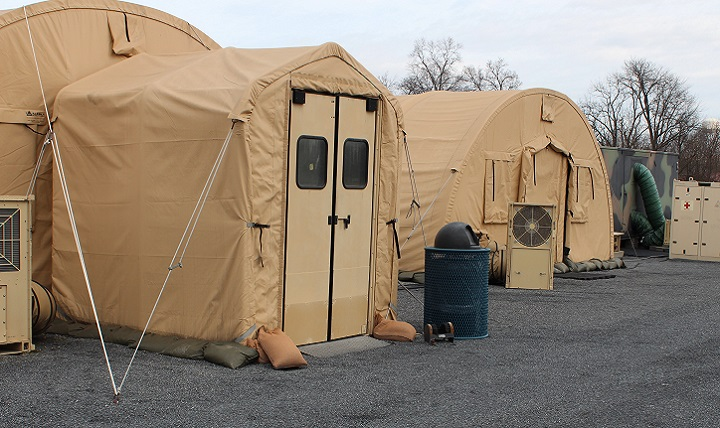 A 10-bed Expeditionary Medical Support Hospital (EMEDS+10) set up at the Air Force Medical Evaluation Support Activity testing facility at Fort Detrick, Maryland. AFMESA tests medical devices to ensure they will work in the field and survive the rigors of deployment. Many devices tested by AFMESA are used in EMEDS facilities, making it a critical testing location. (U.S. Air Force photo by Shireen Bedi)