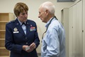 Lt. Gen. Dorothy Hogg, Air Force Surgeon General, talks with a veteran during a tour of the Air Force's first Invisible Wounds Center at the Eglin Air Force Base, Fla. The IWC will serve as a regional treatment center for post-traumatic stress, traumatic brain injury, associated pain conditions and psychological injuries. (U.S. Air Force photo)