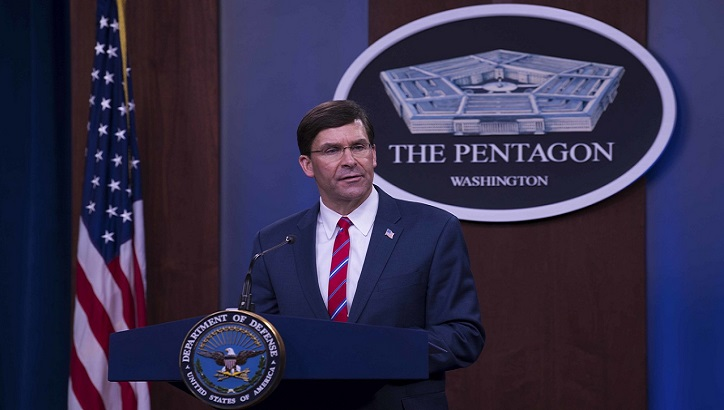 Defense Secretary Dr. Mark T. Esper speaks to reporters during a news conference at the Pentagon to discuss the department's efforts in response to the COVID-19 pandemic, March 23, 2020. (DoD photo by Army Staff Sgt. Brandy Nicole Mejia)
