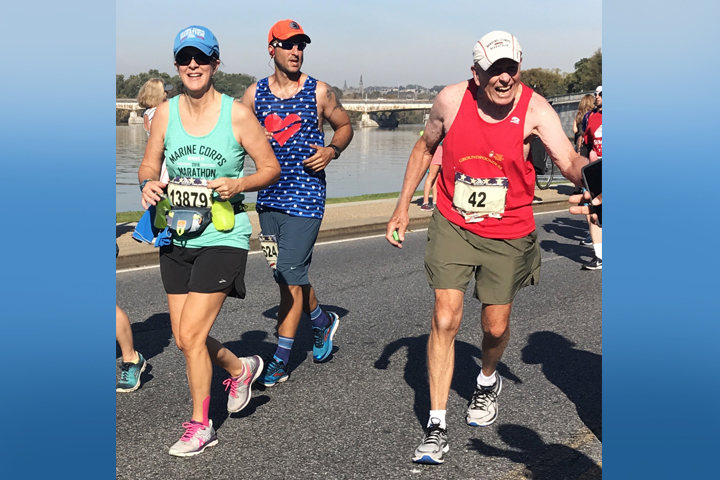 Elisa Zwanenburg (left) and Al Richmond (right) engage in their favorite father-daughter activity, marathon running. (Courtesy photo by James Frank)