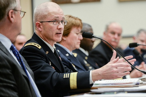 Army Lt. Gen. (Dr.) Ronald Place, director of the DHA, speaks to the House Armed Services subcommittee on personnel. (MHS photo)