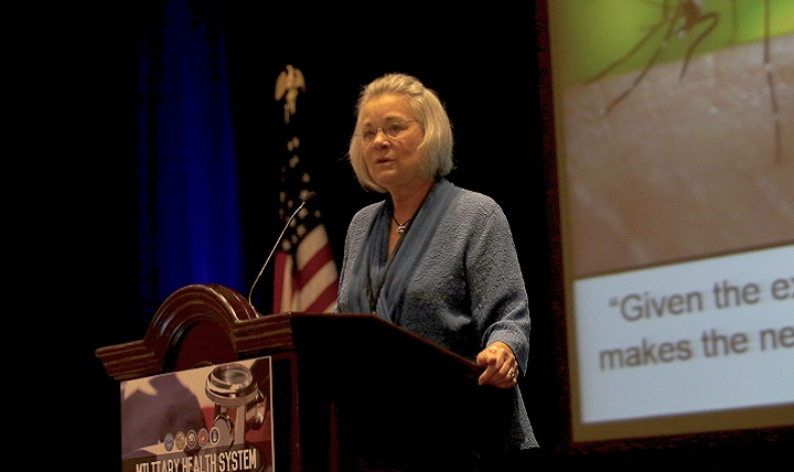 Dr. Karen S. Guice, acting assistant secretary of defense for health affairs, presents the keynote address opening the 2016 Military Health System Research Symposium in Orlando, Florida, recently.