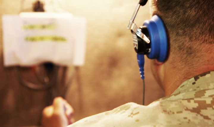 Marine Staff Sgt. Charles Mitchell takes the annual audiogram test at Camp Pendleton, California
