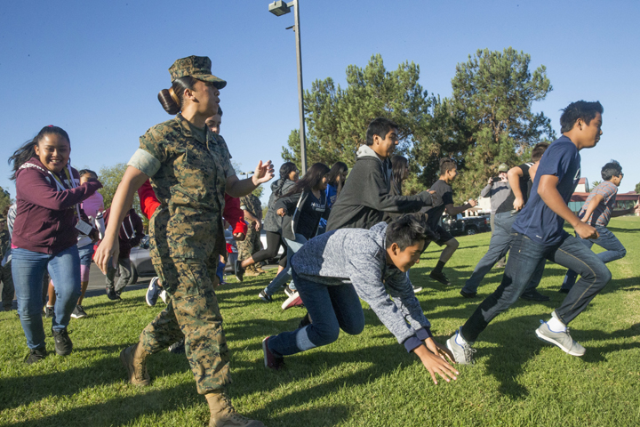 Students from the Oceanside Unified School District enjoy team-building and mentoring activities at Marine Corps Base Camp Pendleton, California. Health care experts recommend the HPV vaccine for preteens and teens to protect against human papillomavirus, which is linked to several types of cancer. (U.S. Marine Corps photo by Lance Cpl. Drake Nickels)