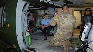 Maj. Gen. Gesine Kruger, Commander for the German Bundeswehr Medical Academy (pictured center in the Flight Paramedic Training Simulator) and her delegation observed training and toured the Critical Care Flight Paramedic Course at the Health Readiness Center of Excellence. (U.S. Army photo)
