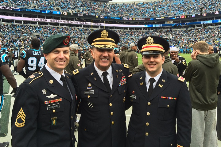 "From left to right, Army Sgt.1st Class Philip Nordstrom, Army Col. Mark Nordstrom and Army 1st Lt. Joel Nordstrom enjoyed a day at a Carolina Panthers ""Salute to Service"" football game. (Photo courtesy of Philip Nordstrom)"