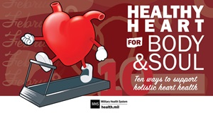"picture of a heart running on the treadmill with the words ""healthy heart for body and soul. ten ways to support holistic heart health"""