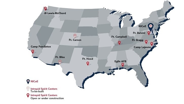 Image of United States map with locations noted