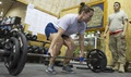 Avoiding any sudden increases in activity level, duration, load, and intensity can help prevent overuse injuries. Injuries can also happen as a result of technique errors, such as poor form during strength training exercises. (U.S. Air Force photo by Tech. Sgt. Robert Cloys)