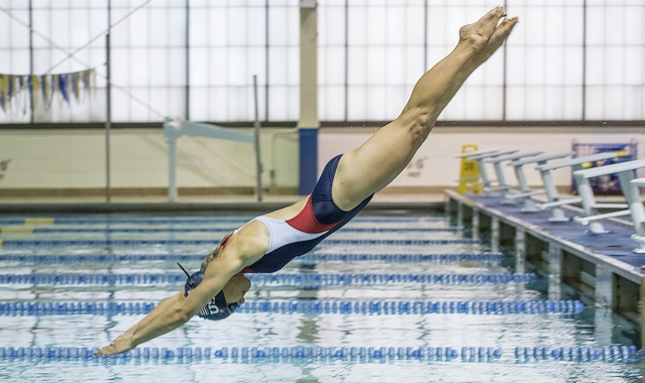The U.S. Swimming team trains for the Invictus Games at Hofstra University in New York, September 19, 2017. The Invictus Games, established by Britain's Prince Harry in 2014, brings together wounded and injured veterans from 17 nations for 12 adaptive sporting events, including track and field, wheelchair basketball, wheelchair rugby, swimming, sitting volleyball, and new to the 2017 games, golf. (DoD photo by Roger L. Wollenberg)