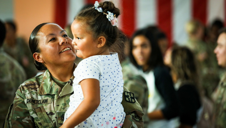 1st Sgt. Doranda Denetclaw, a senior enlisted advisor assigned to 528th Hospital Center, 1st Medical Brigade, 13th Expeditionary Sustainment Command, III Corps, U.S. Forces Command, holds her daughter after returning to Fort Bliss, Texas, October 23, 2019, after a nine-month deployment to Iraq in support of Combined Joint Task Force – Operation Inherent Resolve. (U.S. Army photo by Pvt. Matthew Marcellus)